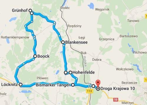 Pętla Lubieszyn-Lubieszyn około 45 kilometrów